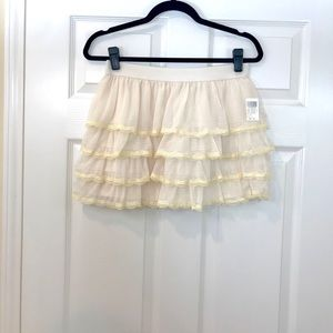 Creme Chiffon Mini Skirt!